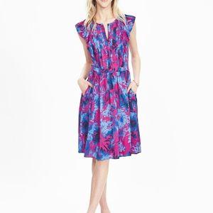 Blue Flutter Floral Sleeve Dress